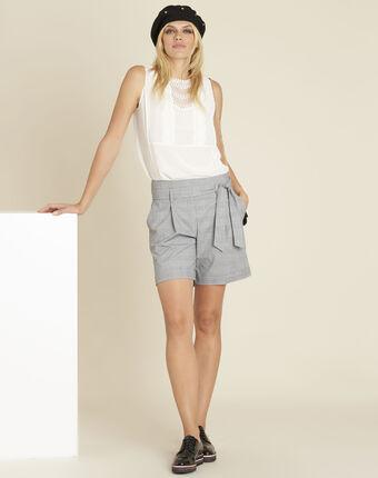 Corinne ecru lace top with silk ecru.