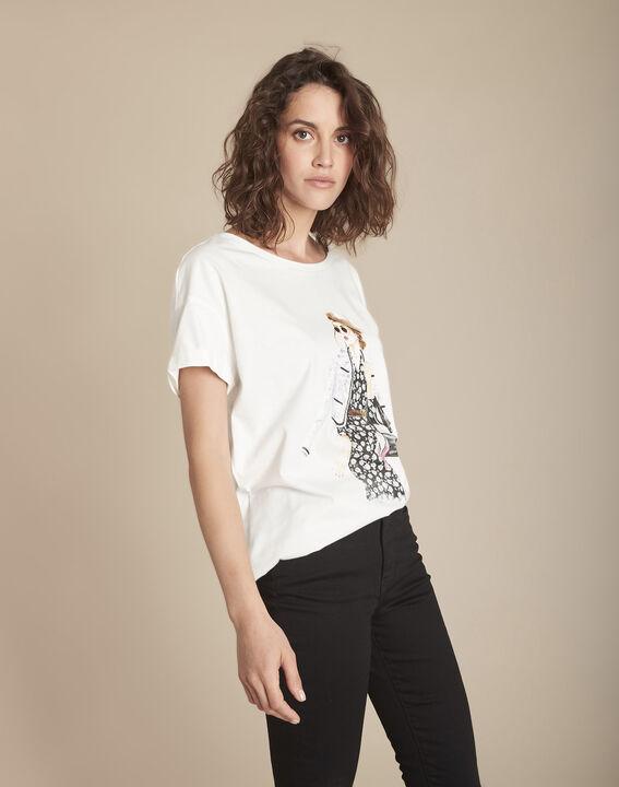 Ecrufarbenes T-Shirt mit Print aus biologischer Baumwolle Caroline PhotoZ | 1-2-3