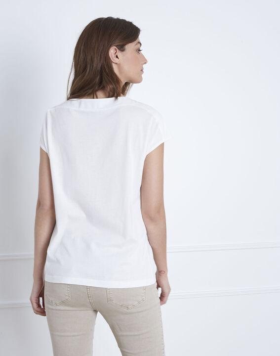 Tee-shirt blanc en coton encolure lacée Porto (5) - Maison 123