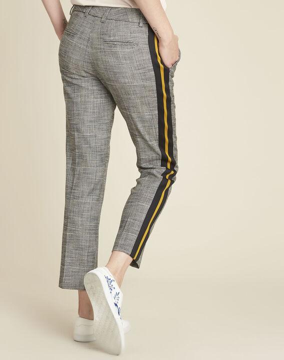 Pantalon gris cigarette jacquard bande côté Hansel (4) - 1-2-3