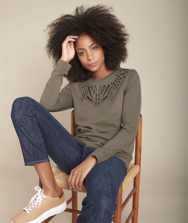 Kaki opengewerkte sweater Camargue PhotoZ | 1-2-3