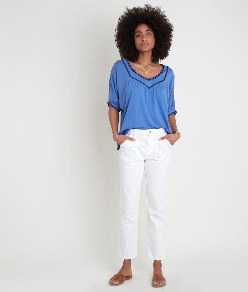 Tee-shirt loose brodé bleu Eglantine PhotoZ | 1-2-3