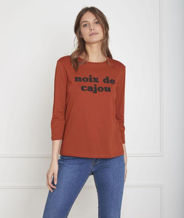 Mahagonifarbenes T-Shirt mit Perlen-Stickerei Pecan PhotoZ | 1-2-3