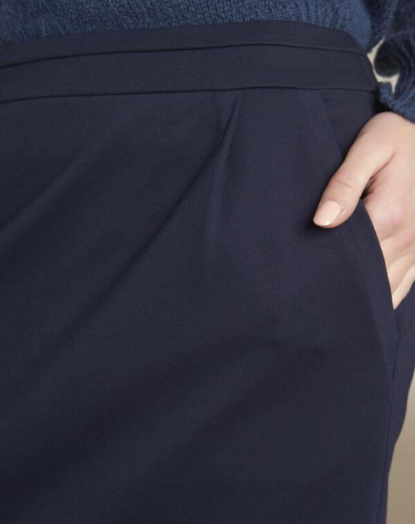 Jupe marine à plis en viscose Leslie (2) - 1-2-3