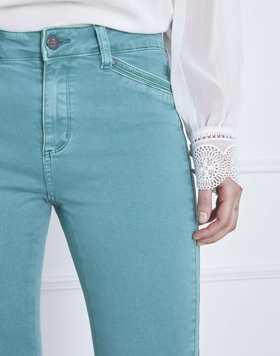 Seegrüne Jeans Slim Fit mit Reißverschluss Opera (3) - Maison 123