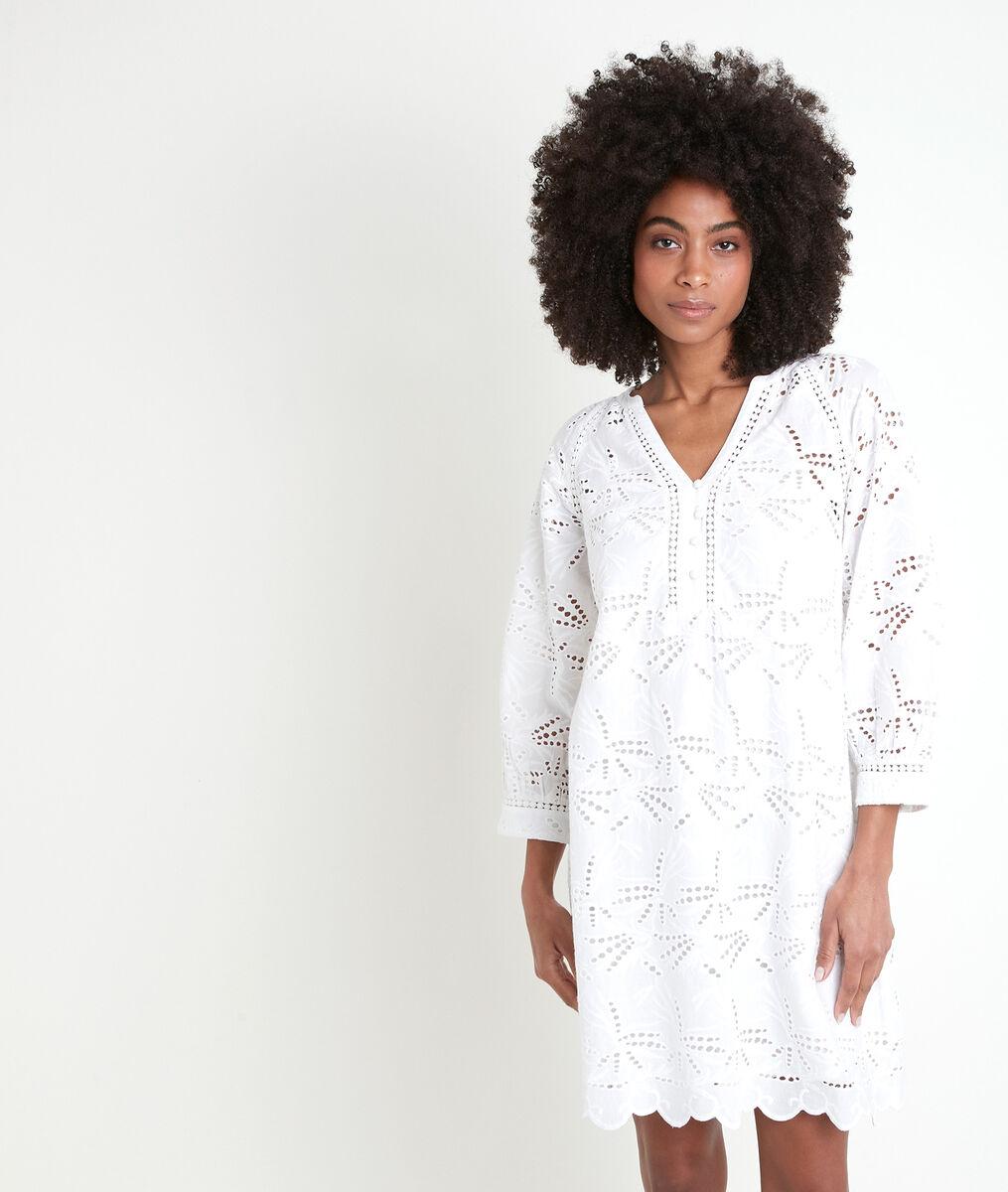 Robe brodée en coton écrue Coco PhotoZ | 1-2-3