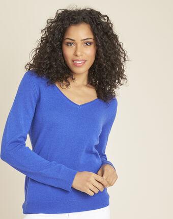 Koningsblauwe trui van kasjmier met v-hals pivoine bleuet.