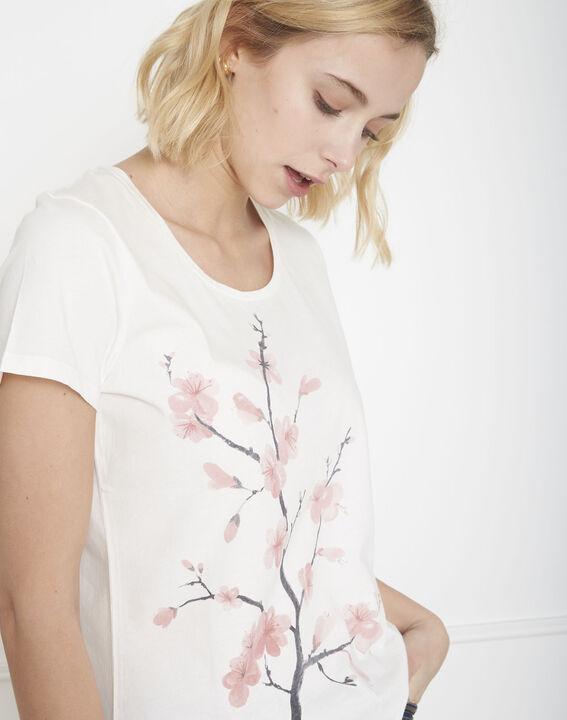 Tee-shirt écru imprimé fleuri Pilou (3) - Maison 123