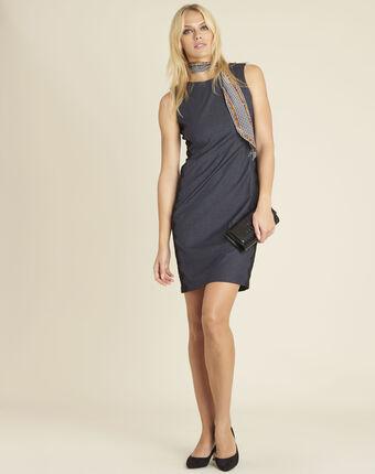 Marineblauwe jurk met zijdelings inzetstuk van kant dynastie marine.