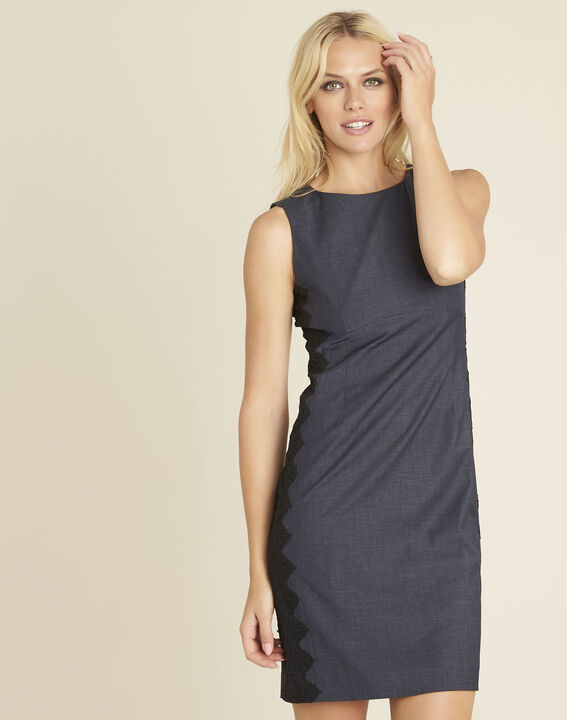 Dynastie navy blue dress with lace insert at the side (1) - 1-2-3