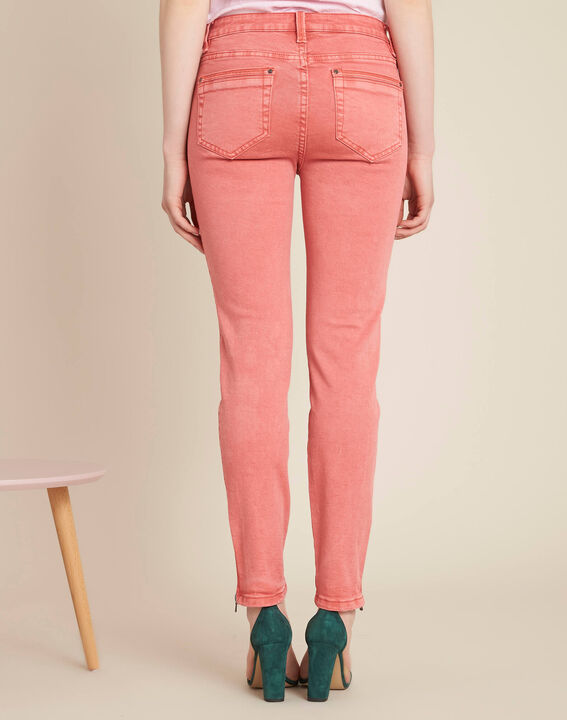Korallenrote Slim-Fit-Jeans mit Reißverschlüssen an den Knöcheln Opera (4) - 1-2-3