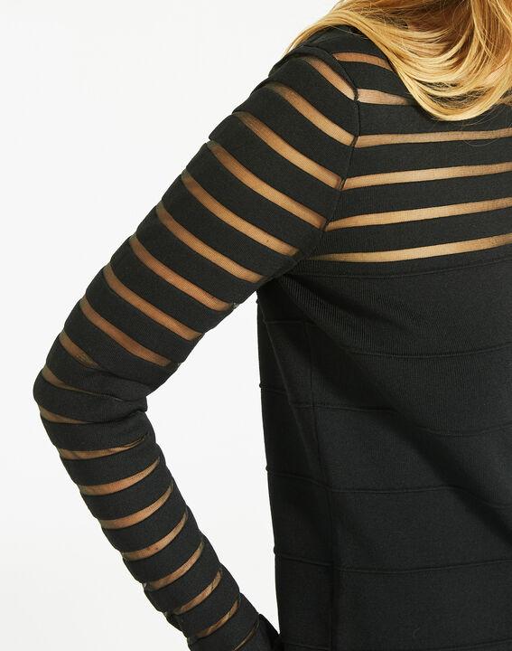 Pull noir fantaisie à rayures transparentes Peggy (3) - Maison 123