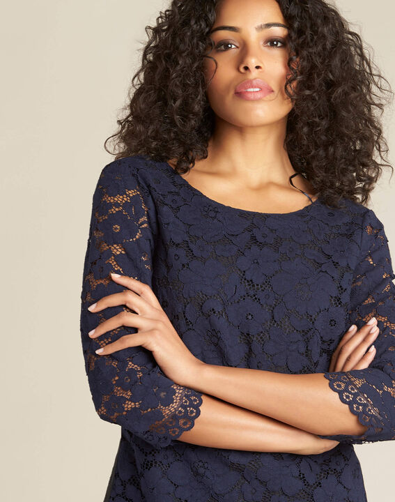 Geraldine navy blue lace blouse (1) - 1-2-3