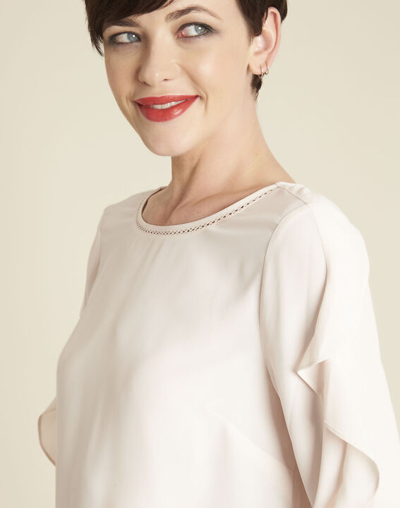 Cleo nude dual-fabric blouse with frilled detailing (3) - 1-2-3