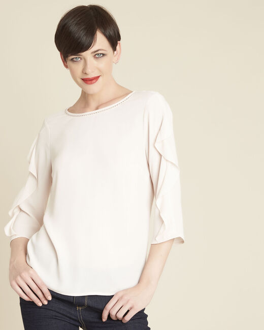 Cleo nude dual-fabric blouse with frilled detailing (2) - 1-2-3