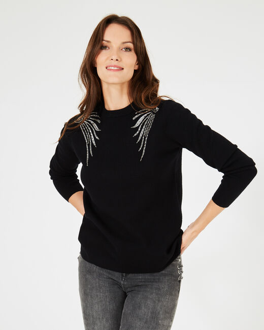Prince black sweater with embroidered wings (2) - 1-2-3