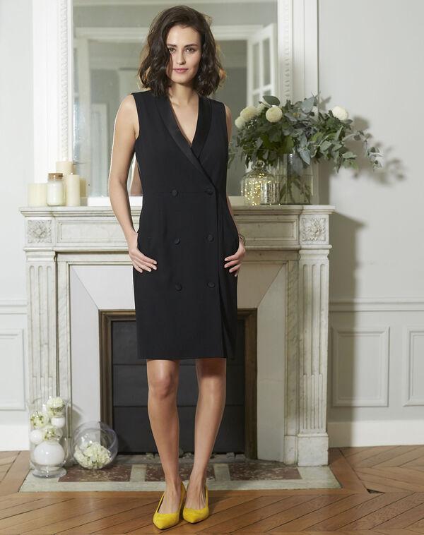 Robe tailleur noire en crêpe Dinar (1) - 1-2-3