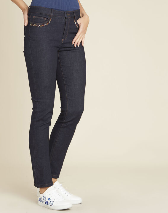 Vivienne straight-cut raw denim jeans with embroidered pockets PhotoZ | 1-2-3