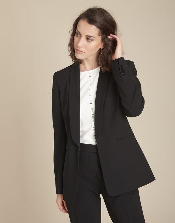Stella black jacket with cowl microfibre neckline PhotoZ | 1-2-3