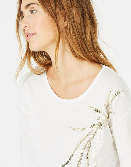 Beads ecru T-shirt featuring sequinned bird (3) - 1-2-3