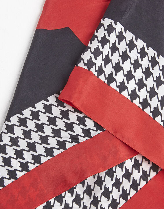Fraise red houndstooth silk square (2) - Maison 123