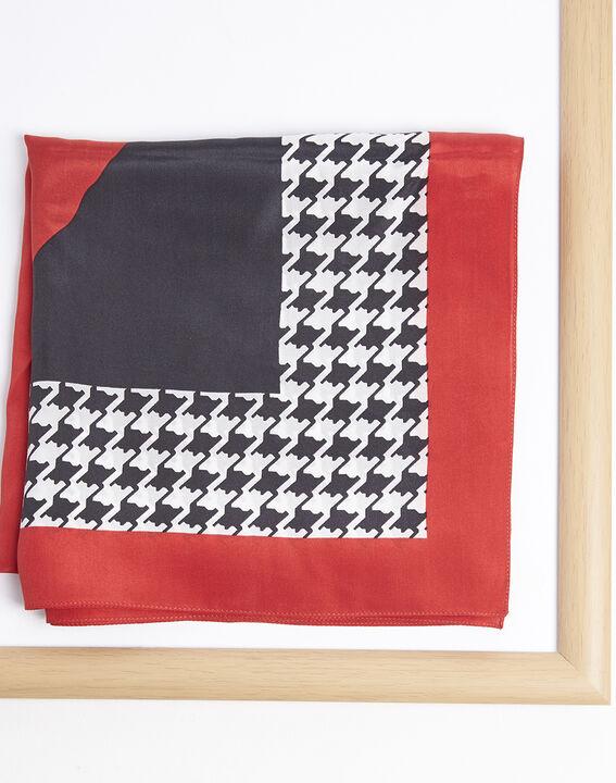 Rode hoofddoek van zijde met pied-de-poule-motief Fraise PhotoZ | 1-2-3