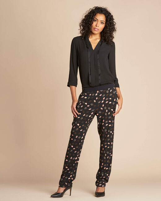 Pantalon noir imprimé feuillage Ginko (2) - 1-2-3