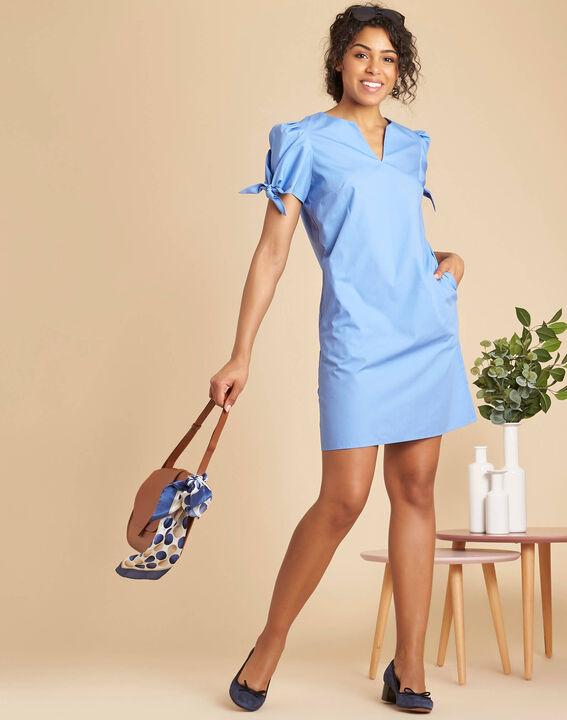 Robe bleu ciel en coton manches fantaisies Pop (2) - 1-2-3