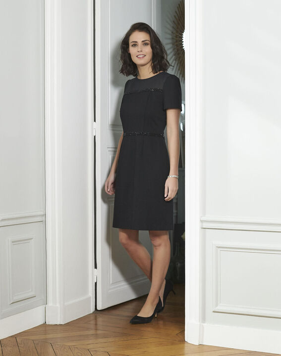 Robe noire détails strass Ness PhotoZ | 1-2-3