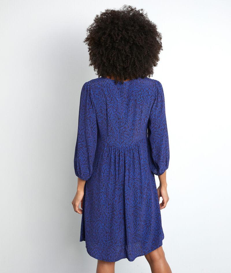 Robe courte smockée et imprimée bleu électrique Solen PhotoZ | 1-2-3