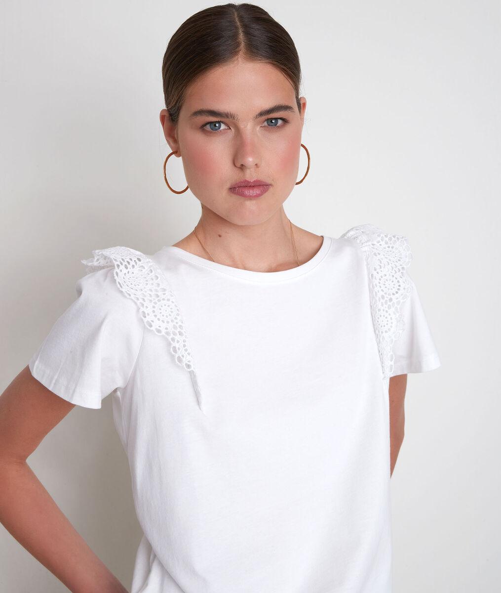 Tee-shirt en coton biologique à broderies blanc Eclat PhotoZ   1-2-3