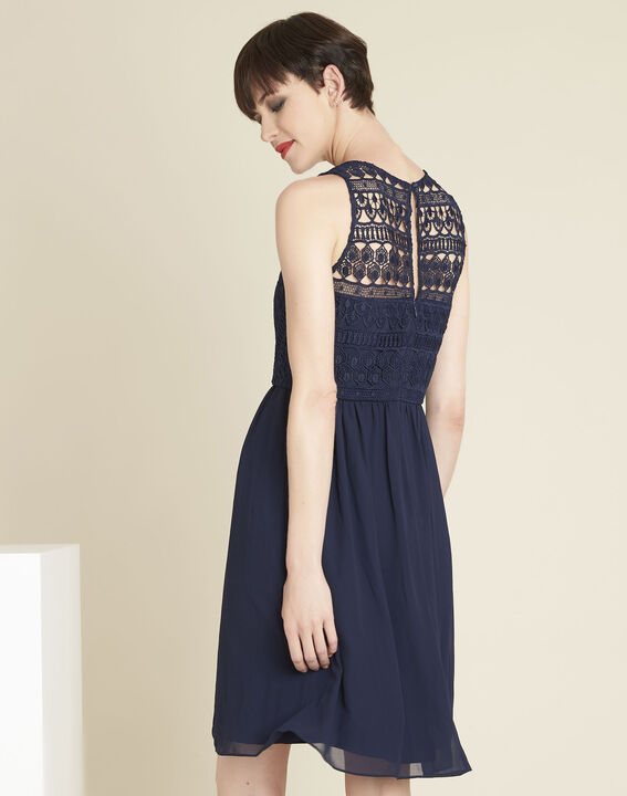 Ibiza navy blue dress with lace at the neckline (4) - 1-2-3