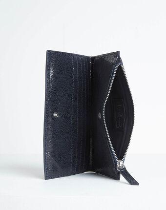 Schwarzes leder-portemonnaie mit zwei klappen dita marineblau.