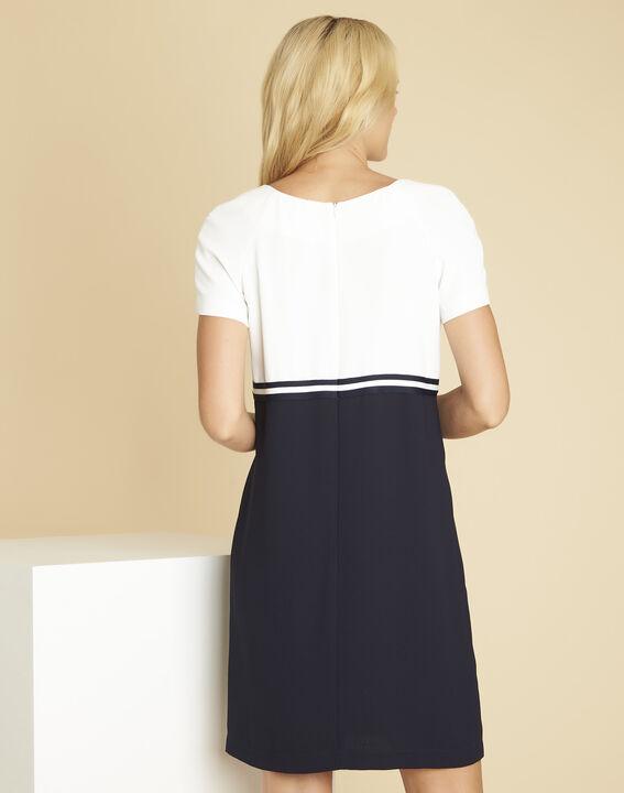 Zwart en witte jurk van crêpe Dowen (4) - 37653
