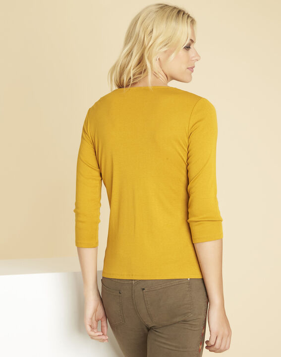 Basic yellow T-shirt with eyelets on the neckline (4) - 1-2-3