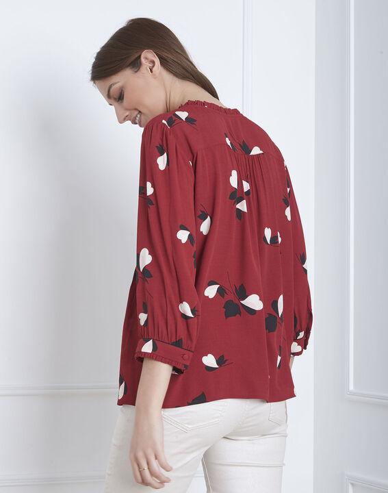 Blouse rouge imprimé fleuri Volga (4) - Maison 123