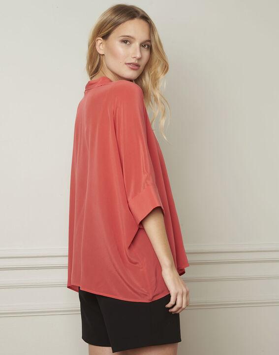 Koraalrode wijde blouse van zijde Vania (3) - Maison 123