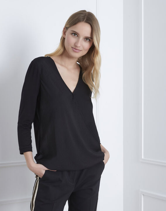 Schwarze Bluse aus Bimaterial in Wickel-Optik  (2) - Maison 123