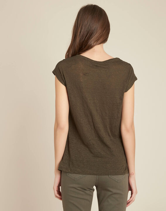 Tee-shirt kaki ajouré à dentelle Elise (4) - 1-2-3