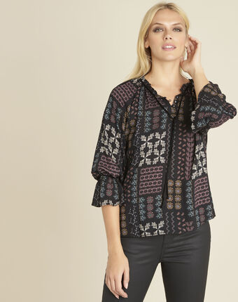 Colombe printed blouse with decorative neckline bordeaux.