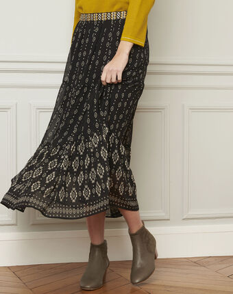 Zwarte rok met fantasieprint suzie noir/blanc.