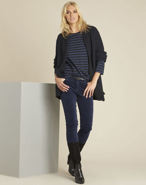 Glory navy striped t-shirt with embroidery (2) - Maison 123