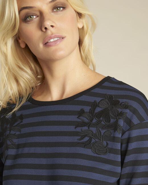 Marineblaues gestreiftes T-Shirt mit Stickerei Glory (2) - 1-2-3