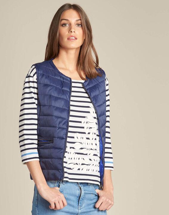 Yvanka navy blue sleeveless padded coat (3) - 1-2-3