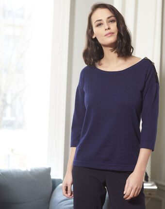 Betty navy blue sweater with decorative detailing on the shoulders royal blue.