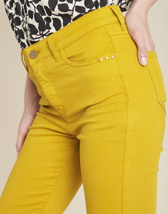 Gelbe 7/8 Slim-Fit-Jeans aus Baumwollsatin Vendome (3) - 1-2-3