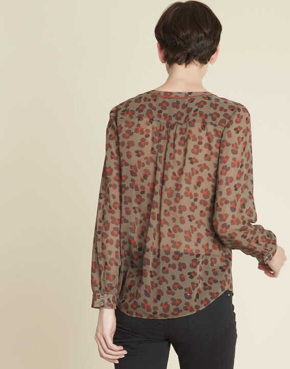 Khakifarbene Bluse mit Animal-Print Candy (4) - 1-2-3