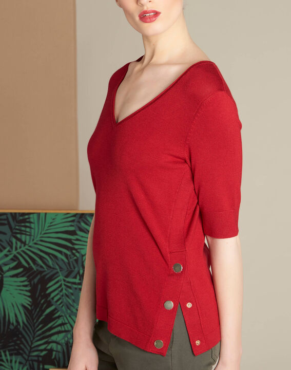 Novette red sweater with golden press-studs PhotoZ | 1-2-3
