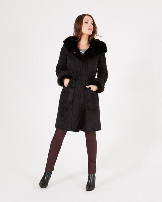 Lemilia mid-length black sheepskin coat (1) - 1-2-3