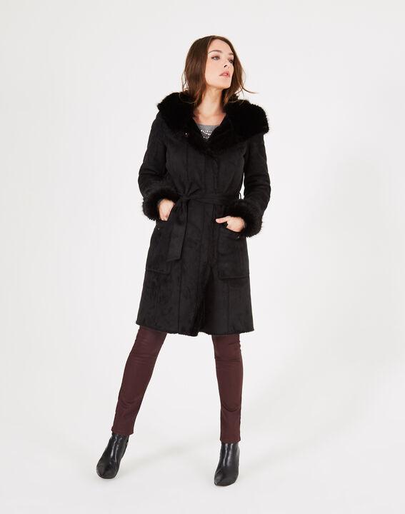 Manteau noir mi-long en peau lainée Lemilia (2) - 1-2-3